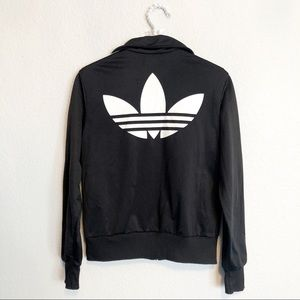 Adidas Logo Track Jacket Black Three Stripes M